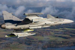 Saab Gripen E + Meteor. Kuva: Saab.