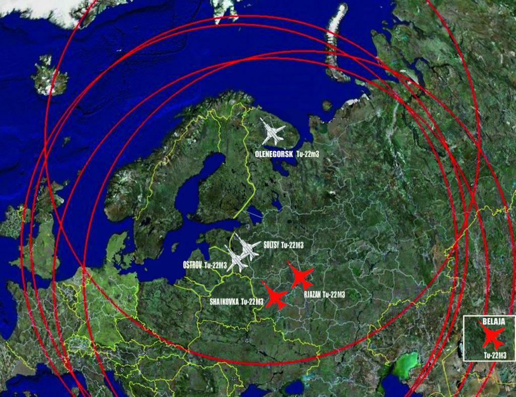 Venäjän ilmavoimilla on kolme operatiivista Backfire-tukikohtaa. Belaja Siperiassa, Shaikovka LänsiVenäjällä ja kolmas, Rjazan, sijaitsee kaakkoon Moskovasta. Merivoimien lentotukikohtia ovat Soltsy ja Kuolassa sijaitseva Olenegorsk. Aktiivinen Backfire-toiminta on tällä hetkellä ilmeisesti ilmavoimien johtamaa. Kuva: Rolf Jonsson. Siivet 2/2015.