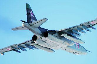 Taktisia lentäjiä kouluttavan Lipetsk Avia Centerin päivittämätön Su-25. Siivet 1/2015.