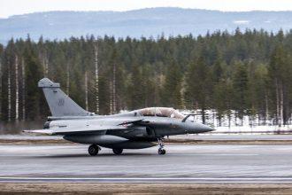 Ranskan ilmavoimien Rafale-hävittäjä Rovaniemellä ACE17-harjoituksessa toukokuussa 2017. Kuva: Ilmavoimat.